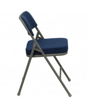 HERCULES Series Premium Curved Triple Braced & Double Hinged Navy Fabric Metal Folding Chair - HA-MC320AF-NVY-GG