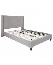 Riverdale Queen Size Tufted Upholstered Platform Bed In Light Gray Fabric