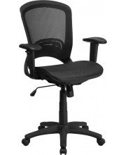 Mid-Back Transparent Black Mesh Executive Swivel Chair with Adjustable Arms - HL-0007T-GG