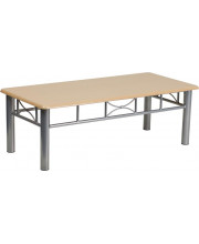 Natural Laminate Coffee Table with Silver Steel Frame - JB-6-COF-NAT-GG