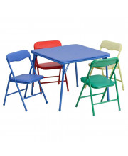 Kids Colorful 5 Piece Folding Table and Chair Set - JB-9-KID-GG