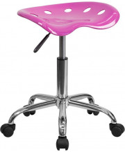 Vibrant Candy Heart Tractor Seat and Chrome Stool - LF-214A-CANDYHEART-GG