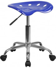 Vibrant Nautical Blue Tractor Seat and Chrome Stool - LF-214A-NAUTICALBLUE-GG