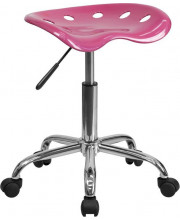 Vibrant Pink Tractor Seat and Chrome Stool - LF-214A-PINK-GG