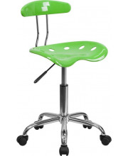Vibrant Apple Green and Chrome Swivel Task Chair with Tractor Seat - LF-214-APPLEGREEN-GG