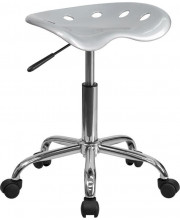 Vibrant Silver Tractor Seat and Chrome Stool - LF-214A-SILVER-GG
