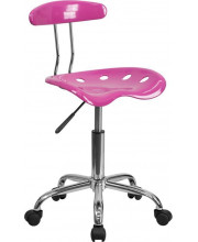 Vibrant Candy Heart and Chrome Swivel Task Chair with Tractor Seat - LF-214-CANDYHEART-GG