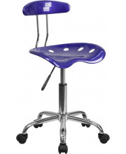 Vibrant Deep Blue and Chrome Swivel Task Chair with Tractor Seat - LF-214-DEEPBLUE-GG