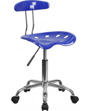 Vibrant Nautical Blue and Chrome Swivel Task Chair with Tractor Seat - LF-214-NAUTICALBLUE-GG