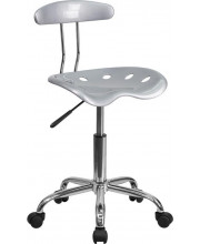 Vibrant Silver and Chrome Swivel Task Chair with Tractor Seat - LF-214-SILVER-GG