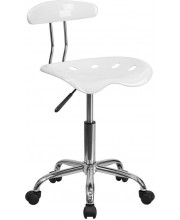 Vibrant White and Chrome Swivel Task Chair with Tractor Seat - LF-214-WHITE-GG