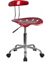 Vibrant Wine Red and Chrome Swivel Task Chair with Tractor Seat - LF-214-WINERED-GG