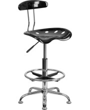Vibrant Black and Chrome Drafting Stool with Tractor Seat - LF-215-BLK-GG