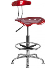 Vibrant Wine Red and Chrome Drafting Stool with Tractor Seat - LF-215-WINERED-GG