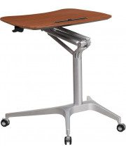 Mobile Sit-Down, Stand-Up Mahogany Computer Desk with 28.25W Top (Adjustable Range 29 - 41) - NAN-IP-10-GG