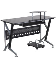 Black Glass Computer Desk with Pull-Out Keyboard Tray and CPU Cart - NAN-WK-059-GG