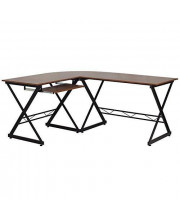 Teakwood Laminate L-Shape Computer Desk with Pull-Out Keyboard Tray - NAN-WK-109-GG