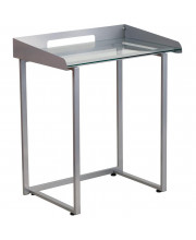 Contemporary Desk with Clear Tempered Glass and Silver Frame - NAN-YLCD1234-GG