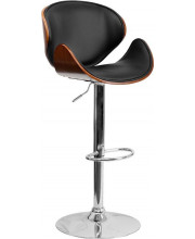 Walnut Bentwood Adjustable Height Barstool with Curved Back and Black Vinyl Seat - SD-2203-WAL-GG