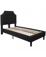 Brighton Twin Size Tufted Upholstered Platform Bed in Black Fabric