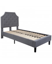 Brighton Twin Size Tufted Upholstered Platform Bed in Light Gray Fabric
