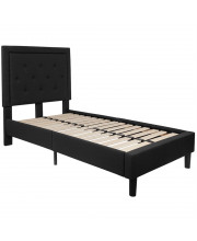 Roxbury Twin Size Tufted Upholstered Platform Bed In Black Fabric
