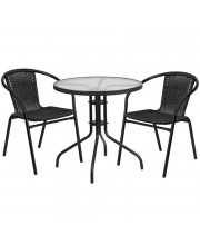 28'' Round Glass Metal Table with Black Rattan Edging and 2 Black Rattan Stack Chairs - TLH-087RD-037BK2-GG