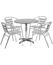 31.5'' Round Aluminum Indoor-Outdoor Table Set with 4 Slat Back Chairs - TLH-ALUM-32RD-017BCHR4-GG