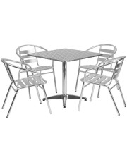 31.5'' Square Aluminum Indoor-Outdoor Table Set with 4 Slat Back Chairs - TLH-ALUM-32SQ-017BCHR4-GG