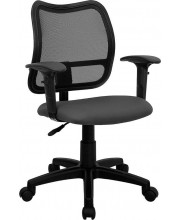 Mid-Back Gray Mesh Swivel Task Chair with Adjustable Arms - WL-A277-GY-A-GG