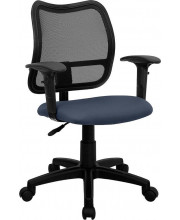 Mid-Back Navy Blue Mesh Swivel Task Chair with Adjustable Arms - WL-A277-NVY-A-GG