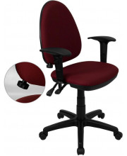 Mid-Back Burgundy Fabric Multifunction Swivel Task Chair with Adjustable Lumbar Support and Adjustable Arms - WL-A654MG-BY-A-GG