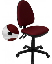 Mid-Back Burgundy Fabric Multifunction Swivel Task Chair with Adjustable Lumbar Support - WL-A654MG-BY-GG