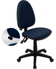 Mid-Back Navy Blue Fabric Multifunction Swivel Task Chair with Adjustable Lumbar Support - WL-A654MG-NVY-GG
