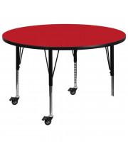 Mobile 48'' Round Red HP Laminate Activity Table - Height Adjustable Short Legs - XU-A48-RND-RED-H-P-CAS-GG