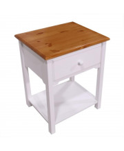 Wooden Nightstand Storage Drawer And Shelf Side Table For Living Room And Bedroom