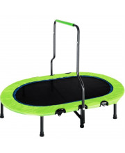 Kids Trampoline With Handrail And Safety Cover, Mini Parent-Child Trampoline For Two Kids, Foldable No-Spring Band Rebounder (Green Cover)