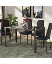 U_Style Dining Table Set 5 Piece, Tempered Glass Table And 4Pcs Faux Leather Dinning Chairs