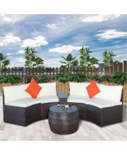 Topmax 6-Piece Patio Furniture Sets, Outdoor Half-Moon Sectional Furniture Wicker Sofa Set With Two Pillows And Coffee Table, Beige Cushions
