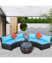 Topmax 6-Piece Patio Furniture Sets, Outdoor Half-Moon Sectional Furniture Wicker Sofa Set With Two Pillows And Coffee Table, Blue Cushions