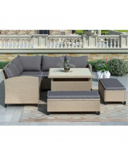 Topmax 6-Piece Patio Furniture Set Outdoor Wicker Rattan Sectional Sofa With Table And Benches For Backyard, Garden, Poolside