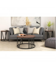 Trexm Rustic Coffee Table Set Old Elm Wood Desktop With Roman Numerically Shaped Iron Legs