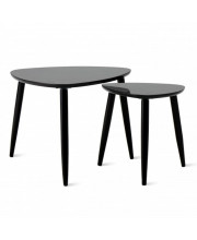 Nesting Coffee Tables Set Of 2, Modern Furniture Decor Side End Table For Living Room, Office, Balcony, Easy Assembly, Triangle, Black/Rubber Wood Legs