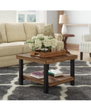 U_Style Easy Assembly Rrustic Square Coffee Table With Storage Shelf