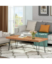 Trexm Modern Coffee Table, Easy Assembly Tea Table Cocktail Table For Living Room W/Chevron Pattern &Amp; Metal Hairpin Legs, Nature Rough Wood
