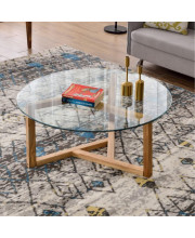 Trexm Round Glass Coffee Table Modern Cocktail Table Easy Assembly Sofa Table For Living Room With Tempered Glass Top &Amp; Sturdy Wood Base (Oak)