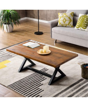 Trexm Farmhouse Coffee Table Easy Assembly Nature Wood Tea Table Rustic Industrial Cocktail Table For Living Room With X-Shaped Metal Frame