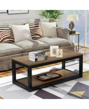 Trexm Rustic Industrial Design Rectangular Coffee Table With Metal Base And Open Bottom Shelf