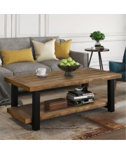Trexm Rustic Natural Coffee Table With Storage Shelf For Living Room, Easy Assembly (Rectangle)