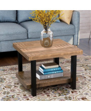"""Trexm Rustic Natural Coffee Table With Storage Shelf For Living Room, Easy Assembly Hillside(22""""X22"""")"""